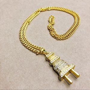 Iced out Plug Pendant on gold chain